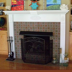 Custom Made Ornamental Fireplace Mantle And Tile