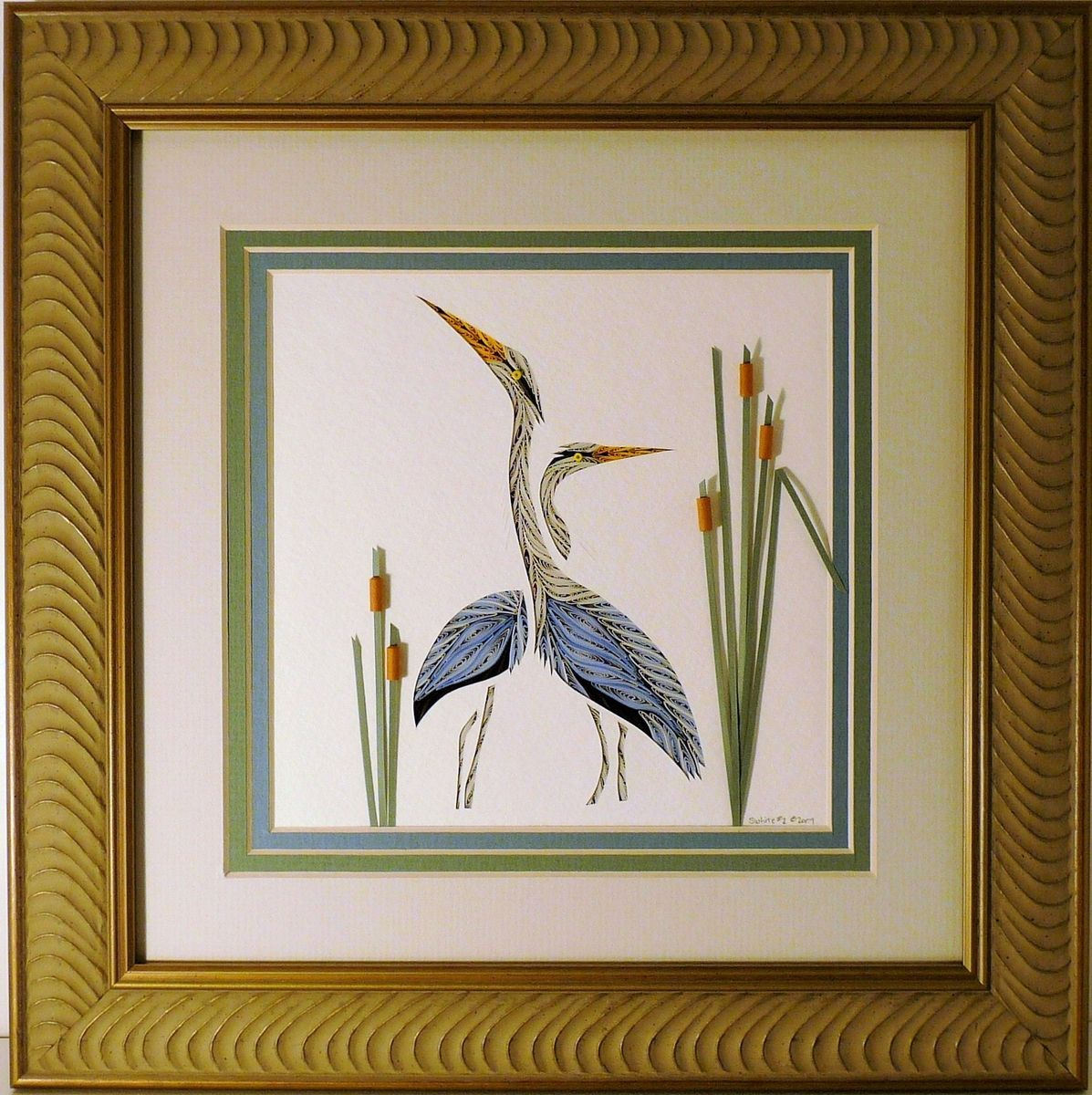 Buy a Handmade Quilled Double Heron Wall Art Framed, made to order ...
