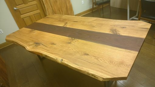 Custom Made Reclaimed, Domestic Oak And Walnut Dining/Conference Table