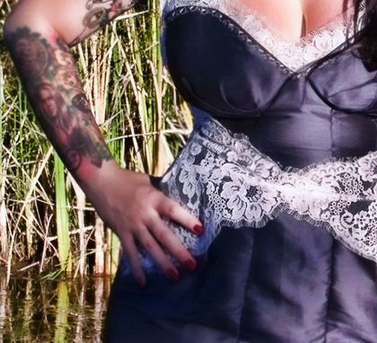 Custom Made Custom Couture Silk And Lace Wiggle Dress With  Neckline Bombshell Illusion Dress And Apron Belt