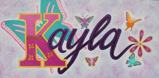 Custom Made Custom Name Baby Nursery / Kids Wall Art Decor - Butterfly Name Painting On Canvas (Not A Print)