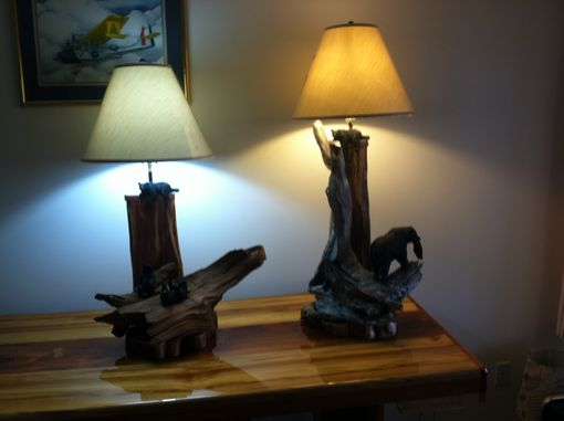 Custom Made Driftwood Black Bear Lamps