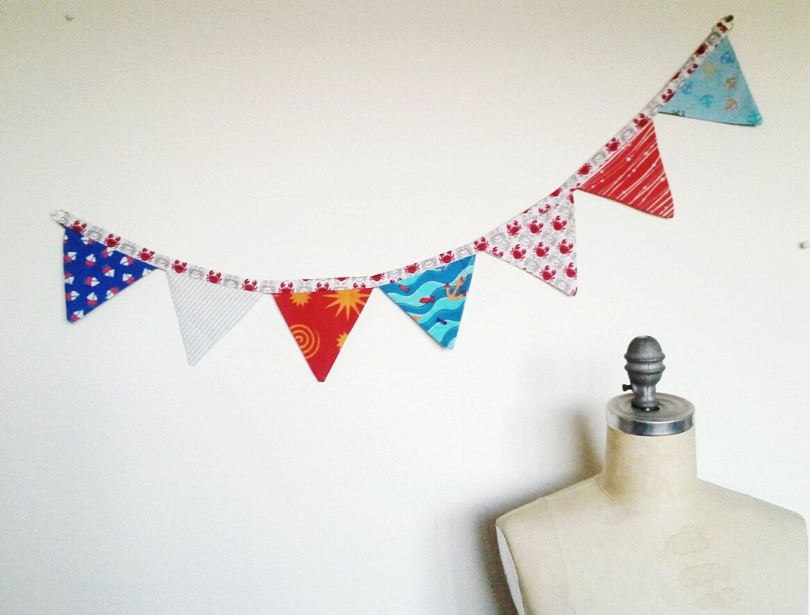 Hand made nautical fabric banner nursery or home decor for Nautical nursery fabric