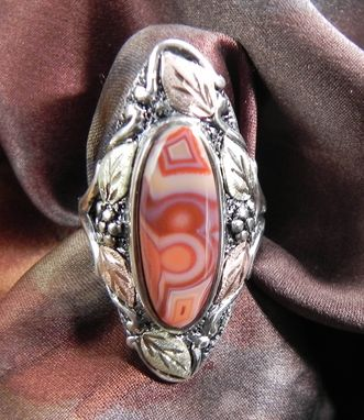 Custom Made Black Hills Gold On Silver Fairburn Agate Ring