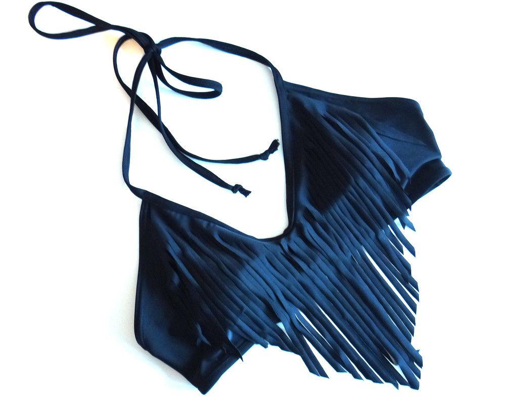Custom Fringe Halter Bikini Top by JAXON Swimwear | CustomMade.com