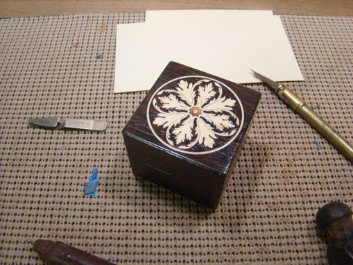 Custom Made Engagement Ring Box With Inlaid Acanthus Leaf Box Rb-6.  Free Shipping And Engraving.