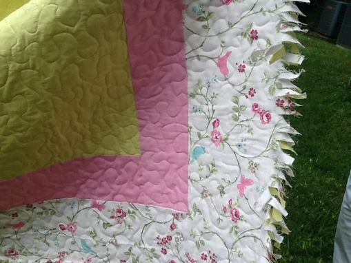 Custom Made Organic Pink And Green Cotton Girl's Quilt With Ragged Binding