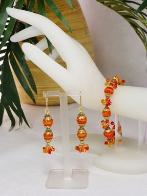 Custom Made Set - Orange 'Dreamcicle' Lampwork Bracelet And Matching Earrings