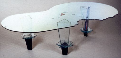 Custom Made 3 Leg Glass Table