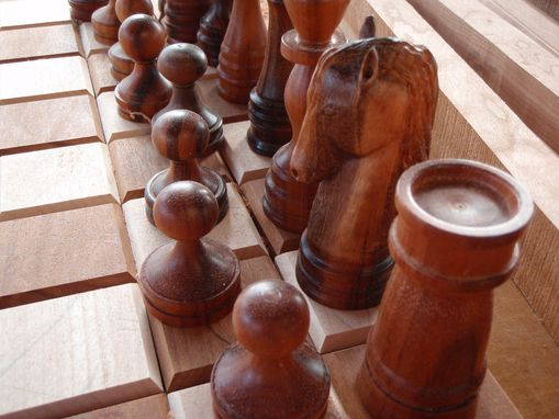 Custom Made Goncalo Alves And Birch Chess Set