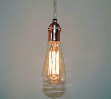Custom Made Minimalist Antique/Industrial Style Edison Pendant - Keyless