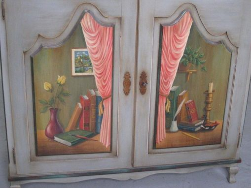 Custom Made Custom Made 2 Door European Style Hand Painted Cabinet