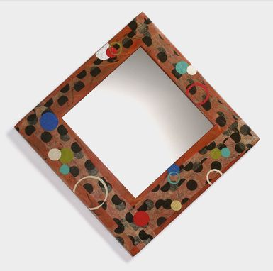 Custom Made Polka Dot Mirror With Terra Cotta Background