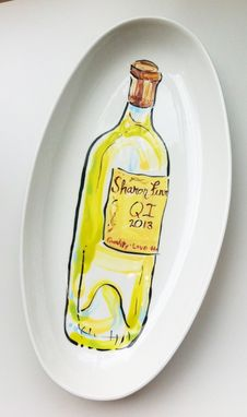 Custom Made White Wine Bottle Plate - Fish Plate - Pinot Grigio - Santa Margherita - Home Decor