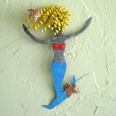 Custom Made Handmade Upcycled Metal Blonde Mermaid With Starfishes Wall Art Sculpture