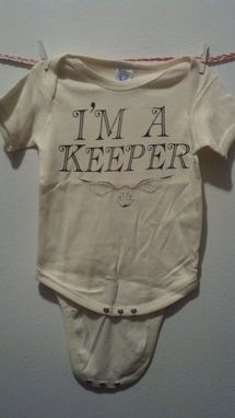 Custom Made Sale Harry Potter Inspired I'M A Keeper And Golden Snitch Onesie, Yellow 12 Months, Ready To Ship