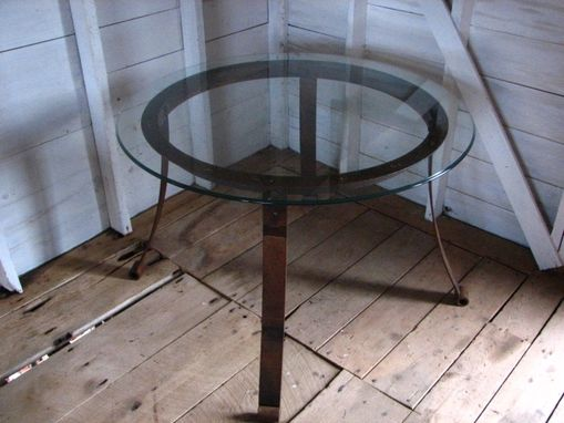Custom Made Industrial Round Reclaimed Metal Table With Glass Top