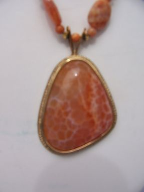 "Custom Made Elegant And Unusual ""Tapioca"" Carnelian Pendant Set In 14k Gold Surrounded By Fire Agates"