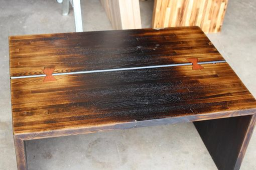 Custom Made Salvaged Wood End Table - Shou Sugi Ban With Butterfly Key Inlay