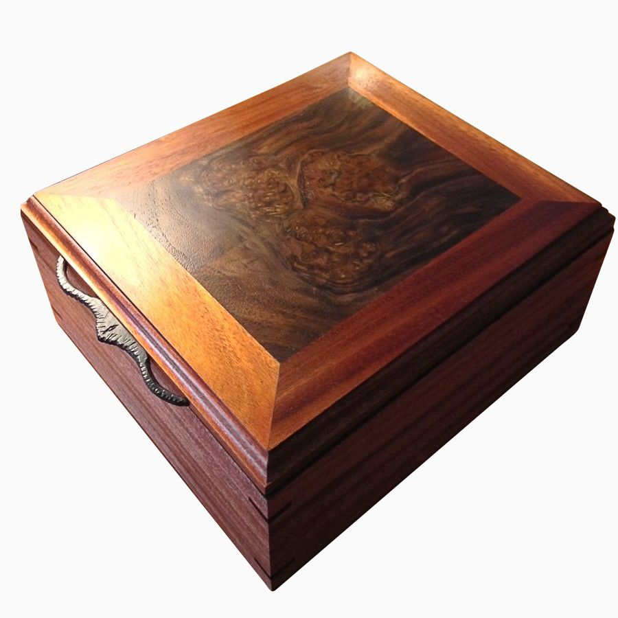 Hand Made Artisan Jewelry Box Mahogany Walnut Burl By Mark Alan Artisan Woods