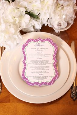 Custom Made Wedding Menu, Ornate Die Cut Reception Menu, Personalized Wedding Table Setting