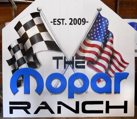 Custom Made Mopar Ranch Painted  Barn Door Mural