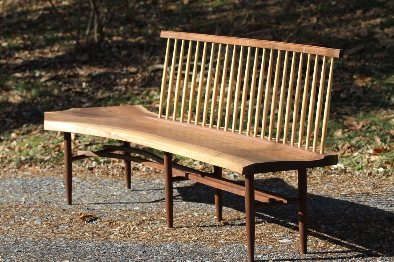Peachy Handmade Live Edge Walnut Spindle Back Bench By Miikana Evergreenethics Interior Chair Design Evergreenethicsorg