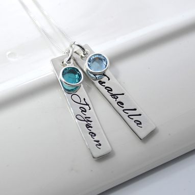 Custom Made Personalized Mother's Necklace Two Bars And Birthstones