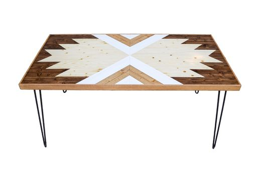 Custom Made Nawkaw Wood Coffee Table With Hairpin Legs