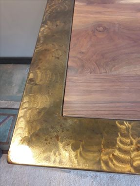 Custom Made Industrial Metal Table With Solid Walnut Top