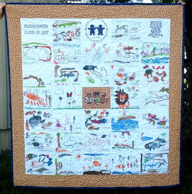 Custom Made Custom Children's Art Quilt - Artwork School Kindergarten Class Kid's Drawing Quilt
