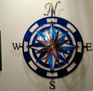 Custom Made 36 Inch Metal Compass Rose Wall Art