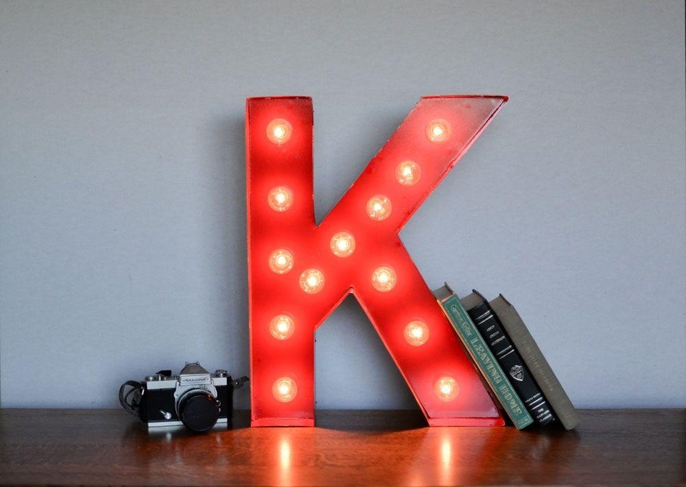 Custom Made Vintage Inspired Marquee Light Letter K Color Fire Engine