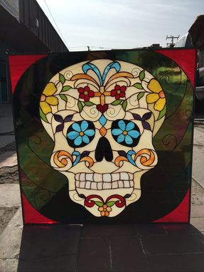 "Custom Made ""Day Of The Dead"" Sugar Skull Stained Glass Window"