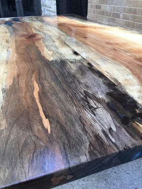 Custom Made Live Or Natural Edge Desk With Metallic Resin