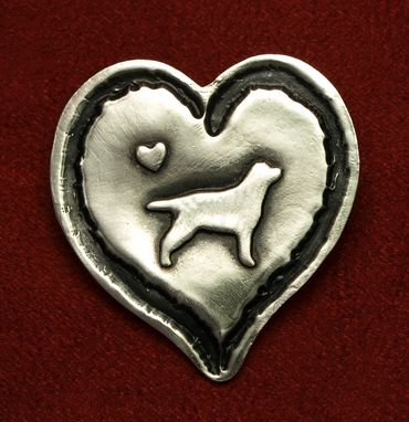 Custom Made Silver Heart Pin With Golden Retriever