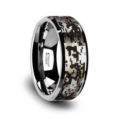 Custom Made Stealth Tungsten Carbide Wedding Ring With Engraved Digital Camouflage - 8mm