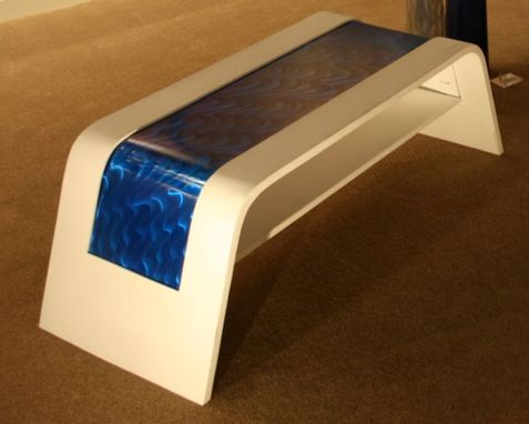 Custom Made Contemporary Wood & Metal Coffee Table