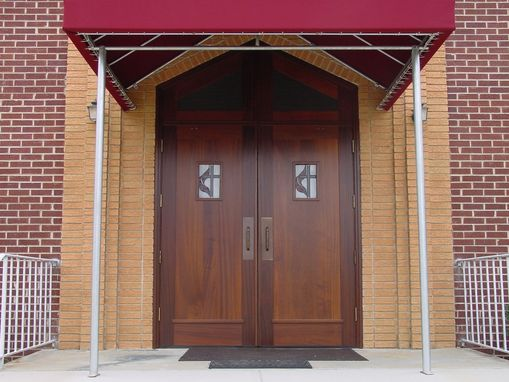 Custom Made Mahogany Church Doors With Stained Glass