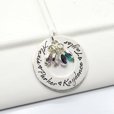 Custom Made Mother Of Four Personalized Washer Necklace