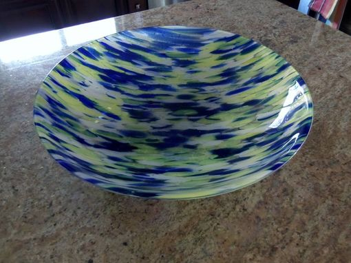 "Custom Made Large 20"" Blue/Yellow Fused Glass Bowl"