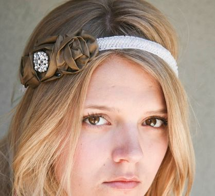Custom Made On Sale Now-Rose And Beaded Tie Headband