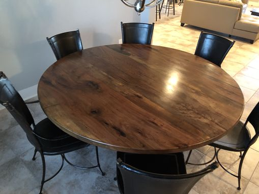 Custom Made Round Pecan Dining Table