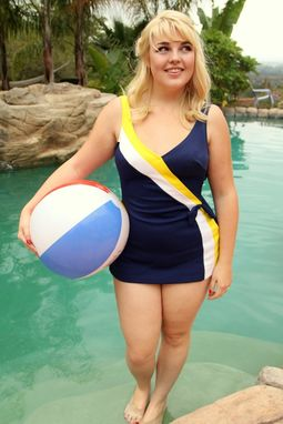 Custom Made Vintage 60s Swimsuit Navy Sailor Pin Up Bathing Suit One Piece Built In Bra M L