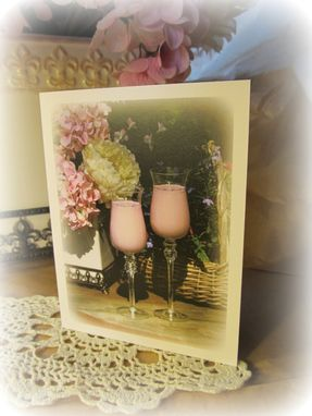 Custom Made Note Card Pack Of 4, Hydrangea And Stems, Greeting Card, Pink, Hospitality, Feminine
