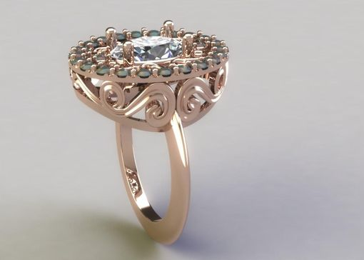 Custom Made Scrolled Halo Ring