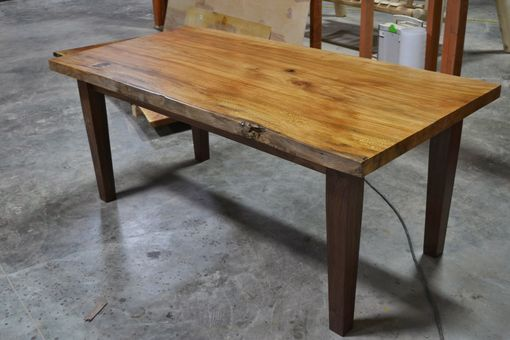 Custom Made Live Edge Slab Dining Table With Extensions