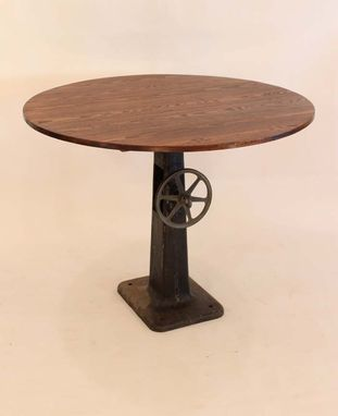 Custom Made Rt-09  Round Antique Industrial Base Pub Table