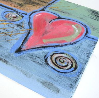 Custom Made Sale- Abstract Pink Heart Painting, Original Acrylic On Canvas