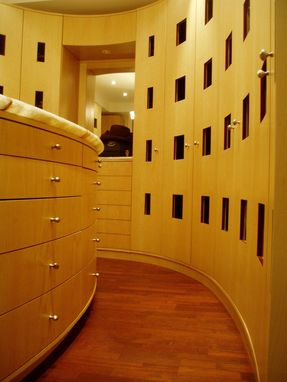 Custom Made Modern Curved Dressing Room Cabinetry